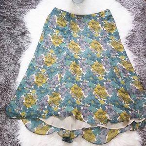 Eileen Fisher Green Floral Skirt